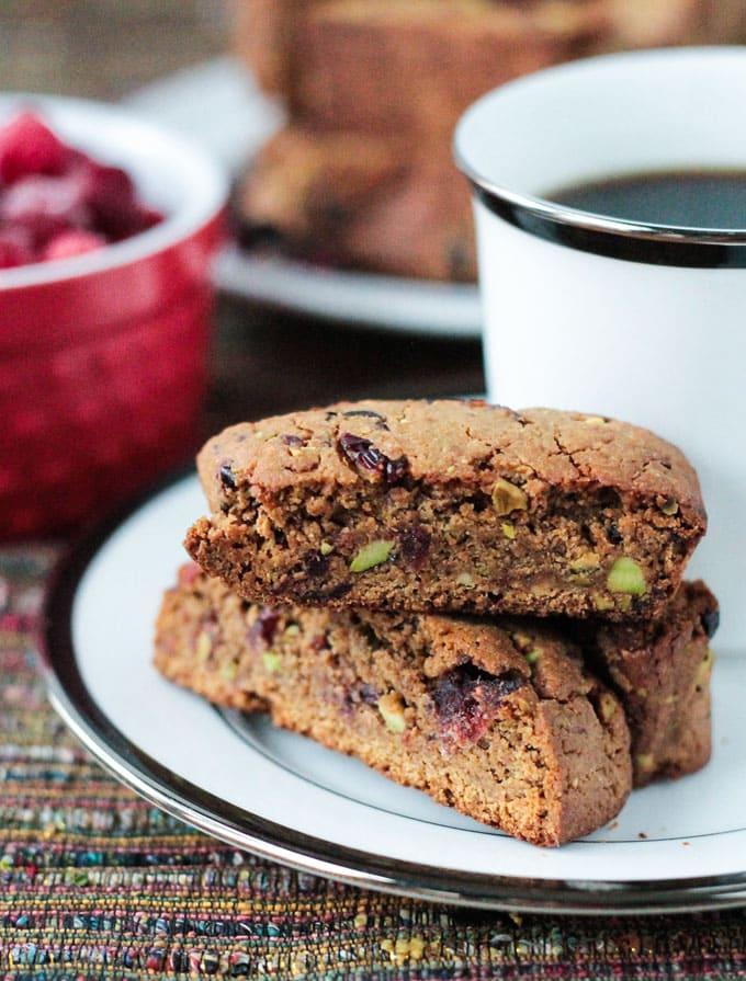 Whole Wheat Cranberry Pistachio Vegan Biscotti