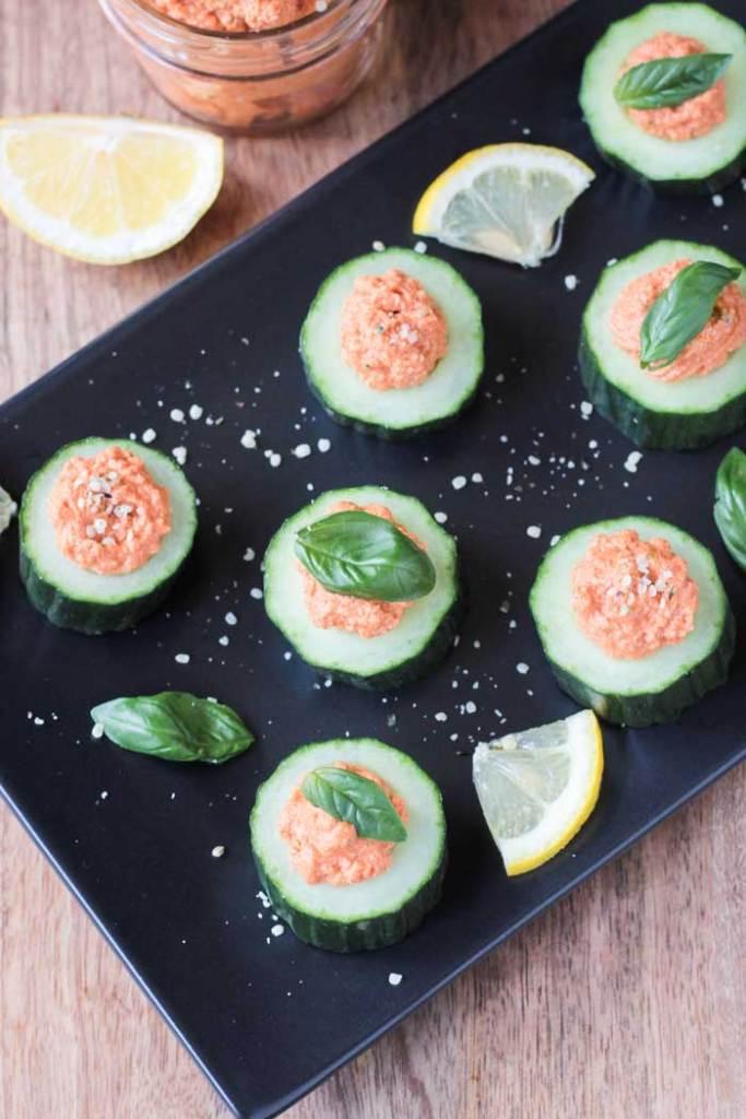 Cucumber Bites w/ Sun Dried Tomato Spread
