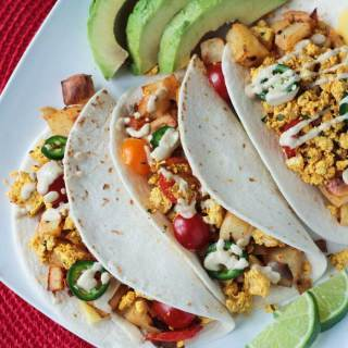 Healthy Breakfast Tacos w/ Tofu & Roasted Potatoes