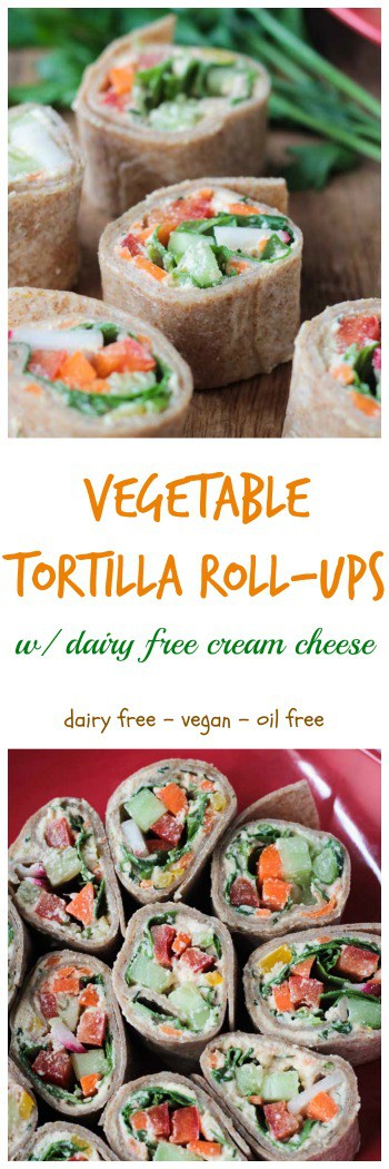 Tortilla Rollups w/ Dairy Free Veggie Cream Cheese - These creamy, crunchy little bites are the perfect appetizer or lunch. Loaded with dairy free veggie cream cheese, then topped with more fresh cut veggies, and all rolled up into a tortilla and cut into bite size pieces - these are not only delicious, but so fun to eat! Perfect for your child's lunchbox - customize it with their favorite veggies.