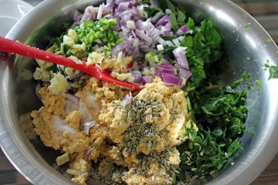 Mixed up and getting ready to be fried for Kale and Spinach Masala ( Vadai)