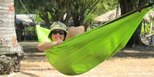 Caryl Veggin' Out in a Hammock at Bulone