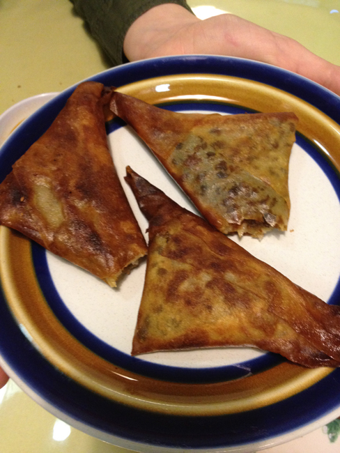 Sambusa - Fried Pastry Filled With Lentils, Green Peppers & Spices