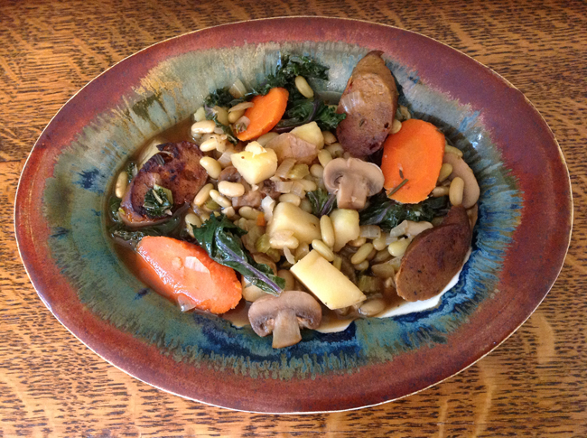 Cassoulet D'Argagnan, a favorite stew from southern France made with Italian Tofurky Sausage.
