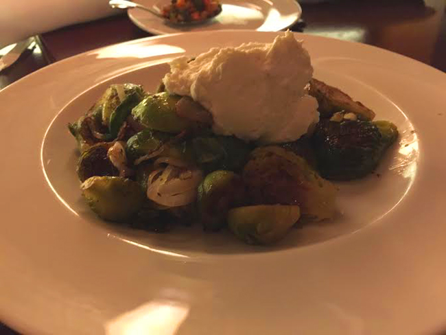 Roasted Brussels Sprouts With Almond Cream Cheese