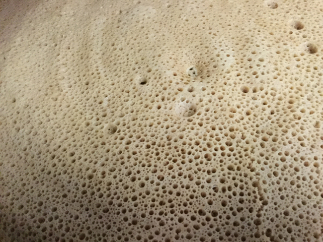"The quality of injera is measured by the size and number of little holes in the top, called ""eyes."" This gives injera its spongy texture. This injera is perfect."