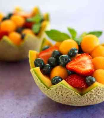 melon cups 2- cantaloupe, strawberries, and blueberries