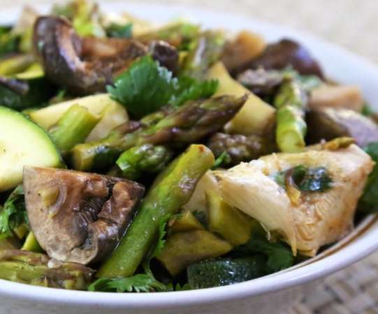 Marinated Mushrooms with Asparagus and ARtichokes