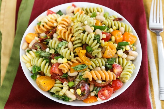 Pasta salad with white beans and corn