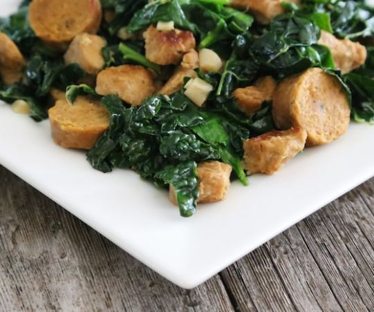 Greens with seitan and vegan sausage (kale or chard)