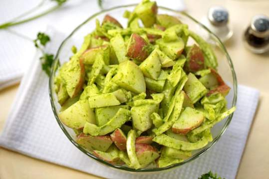 Warm potato and fennel salad with parsley sauce