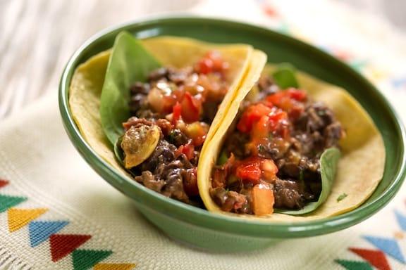 Black bean and squash tacos