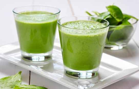 Spinach, pineapple, and sprouts smoothie