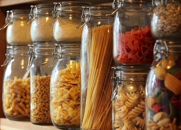 Pastas in jars in pantry