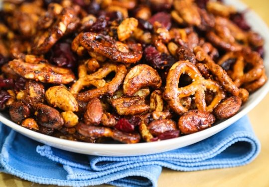 Sweet and Savory Nuts and Pretzels recipe