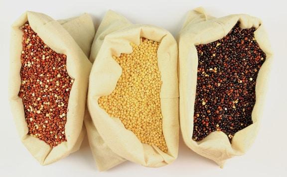 Quinoa varieties - red, tan, and black