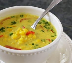 Thai coconut corn soup from Vegan Express