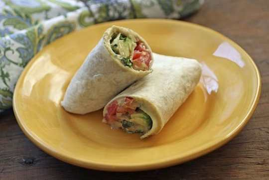 Hummus, cucumber, and avocado wrap2