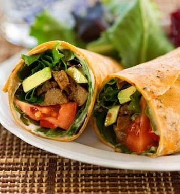 BBQ-flavored seitan and avocado wraps