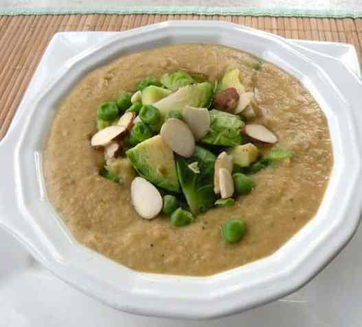 Almond Brussels sprouts soup recipe