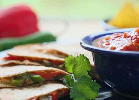Mushroom and bell pepper vegan quesadillas