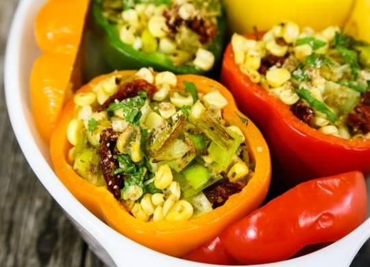 Corn and Leek Stuffed Peppers