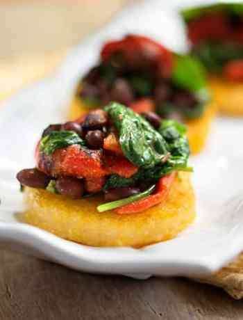 Polenta with black beans & Spinach