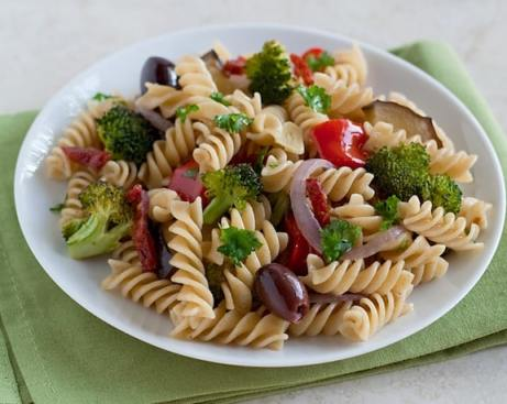 Pasta with Roasted Vegetables and Olives