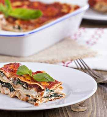 Vegan lasagna with tofu and spinach