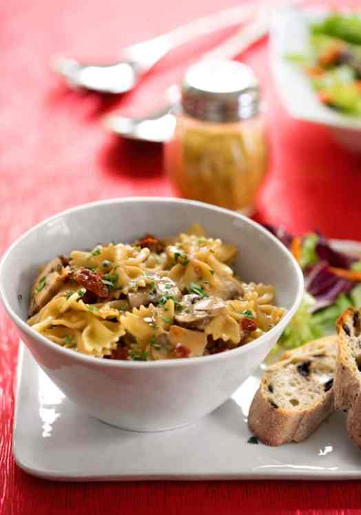 Farfalle (bow tie pasta) with mushrooms and dried tomatoes recipes