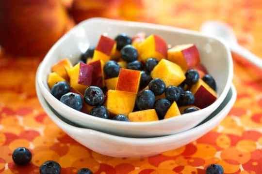 Nectarines and blueberries