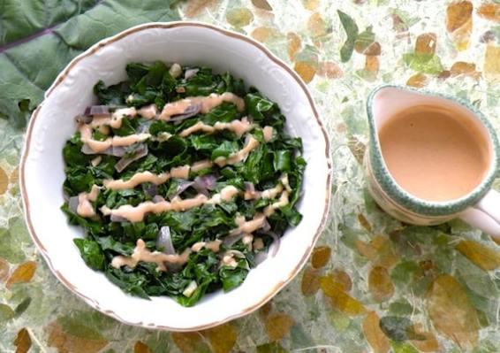 Sautéed Kale with Lemon- Tahini Sauce