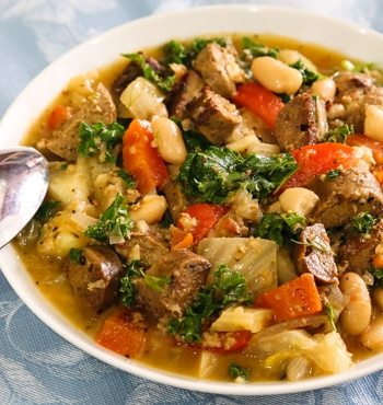 White bean and kale stew with fennel and vegan sausage stew