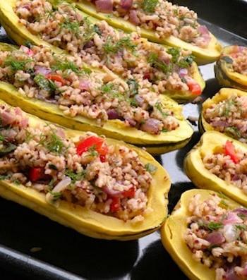 Rice-suffed delicata squashes