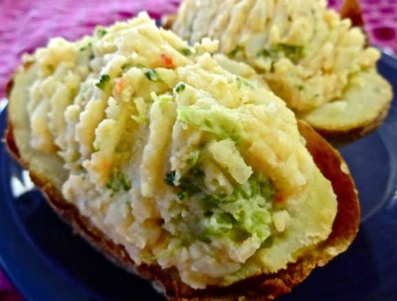 Veggie and Hummus Stuffed baked potatoes