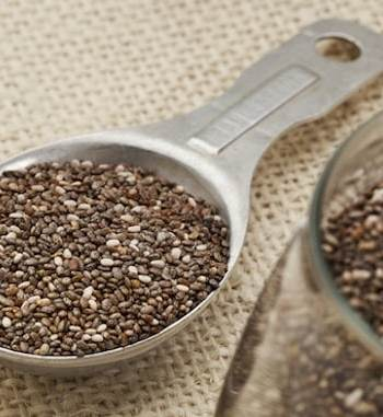 Chia seeds in a spoon and in a jar