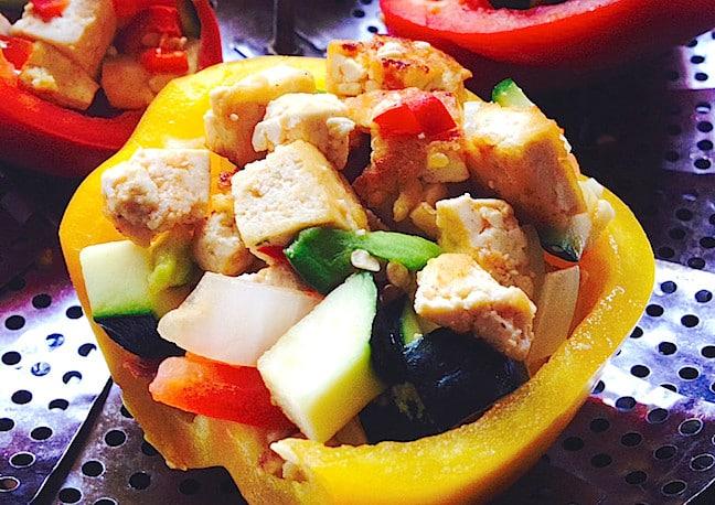 Tofu Veggie Stuffed Peppers from Joelle Amiot's JarOHoney