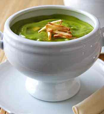 Cold Avocado and pea soup
