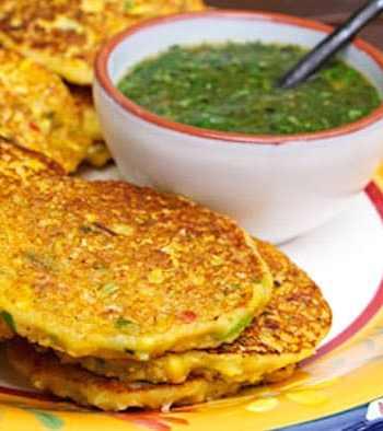 Corn fritters with tomatillo-cilantro sauce