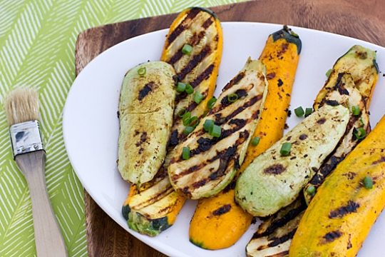 miso marinated grilled summer squash
