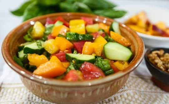 Tomato, Peach, and Walnut Salad