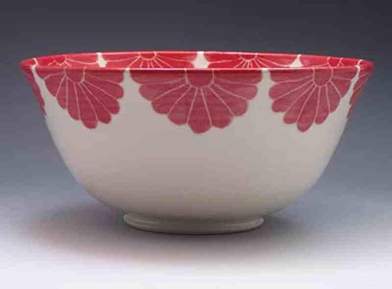 red porcelain serving bowl handmade kitchen gifts