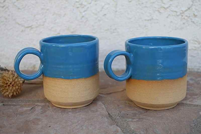 two handmade ceramic blue coffee tea mugs handmade kitchen gifts
