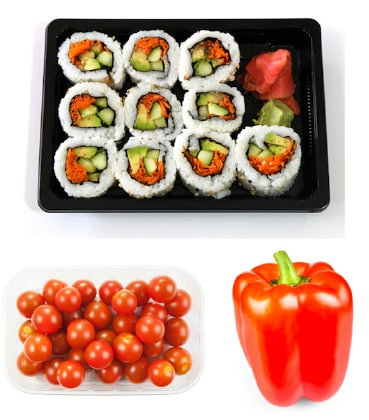 Vegetable sushi dinner ingredients