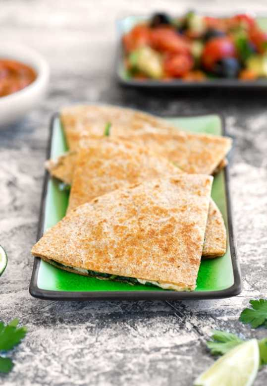 Vegan quesadillas with spinach