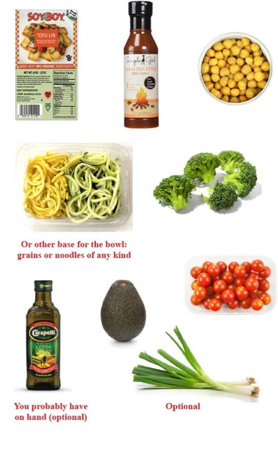 Vegan dinner hacks: BBQ Chickpea and tofu bowl ingredients