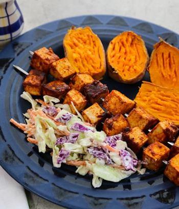 Stovetop BBQ Tofu Skewers dinner