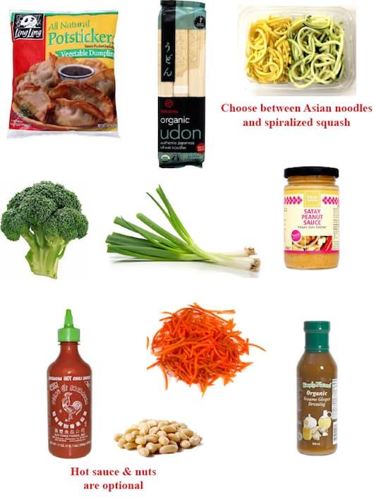 Peanut satay noodles dinner ingredients