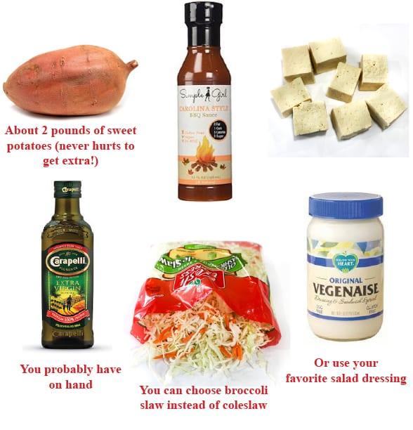 Tofu BBQ dinner ingredients