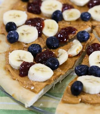 Breakfast peanut butter and jam pizza